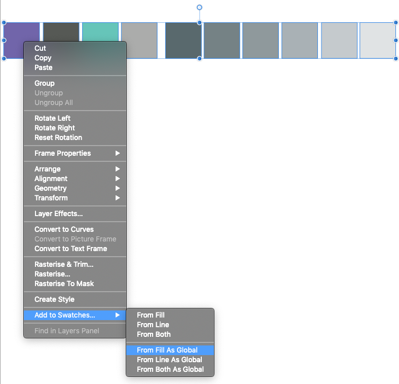 Select all the coloured boxes and right/control click then Add to Swatches the click From Fill As Global